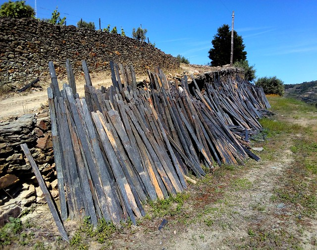 This poles made from the local schist were used to suppoer the grape vines. by bryandkeith on flickr