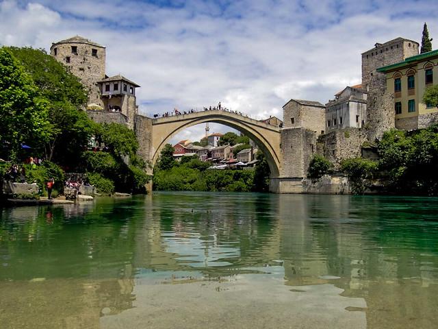Stari Most Bridge in Mostar, Bosnia-Herzegovina. One of the world's most photographed bridges.