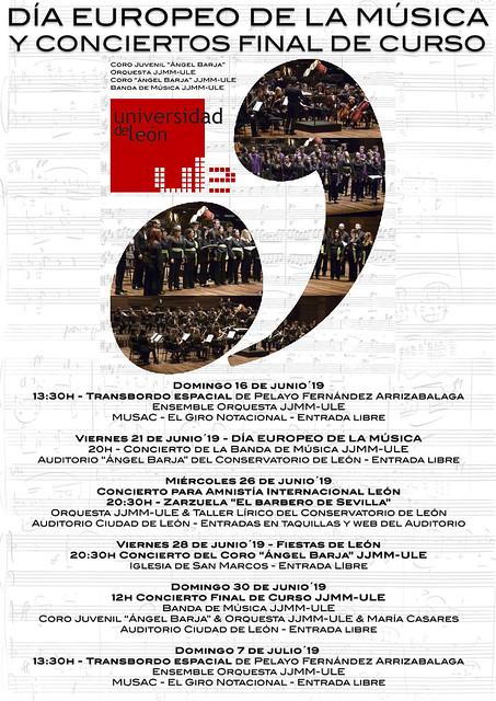 DÍA EUROPEO DE LA MÚSICA Y CONCIERTOS FINAL DE CURSO JUVENTUDES MUSICALES-UNIVERSIDAD DE LEÓN