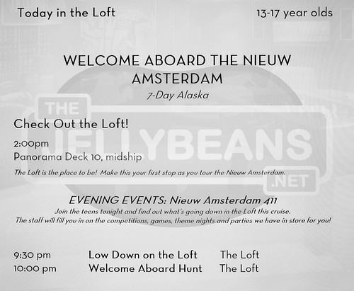 "Holland America Nieuw Amsterdam ""The Loft"" (Teens 13-17) Daily Schedule: May 25, 2019 