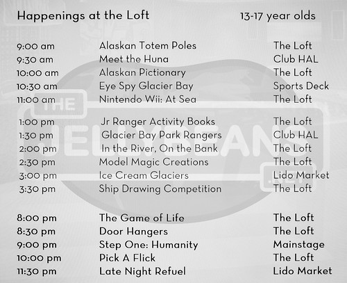 "Holland America Nieuw Amsterdam ""The Loft"" (Teens 13-17) Daily Schedule: May 29, 2019 