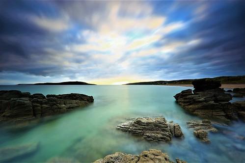 sunset loch horizon dramaticsky longexposure scotland rocks atmospheric