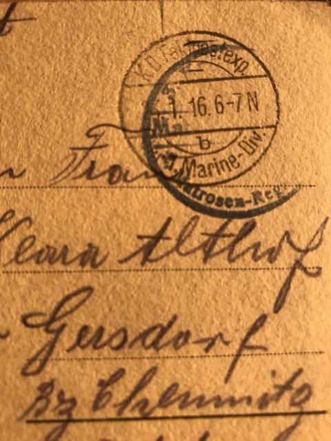 World war 1  Post stamp / Feldpoststempel Marine