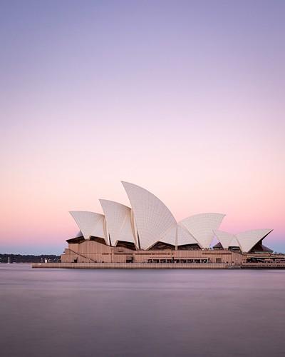 harbour sunset sydney opera house newsouthwales australia