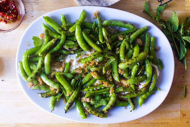 grilled sugar snap peas and burrata