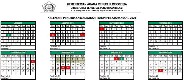 Kalender Pendidikan Madrasah tahun ajaran 2019/2020