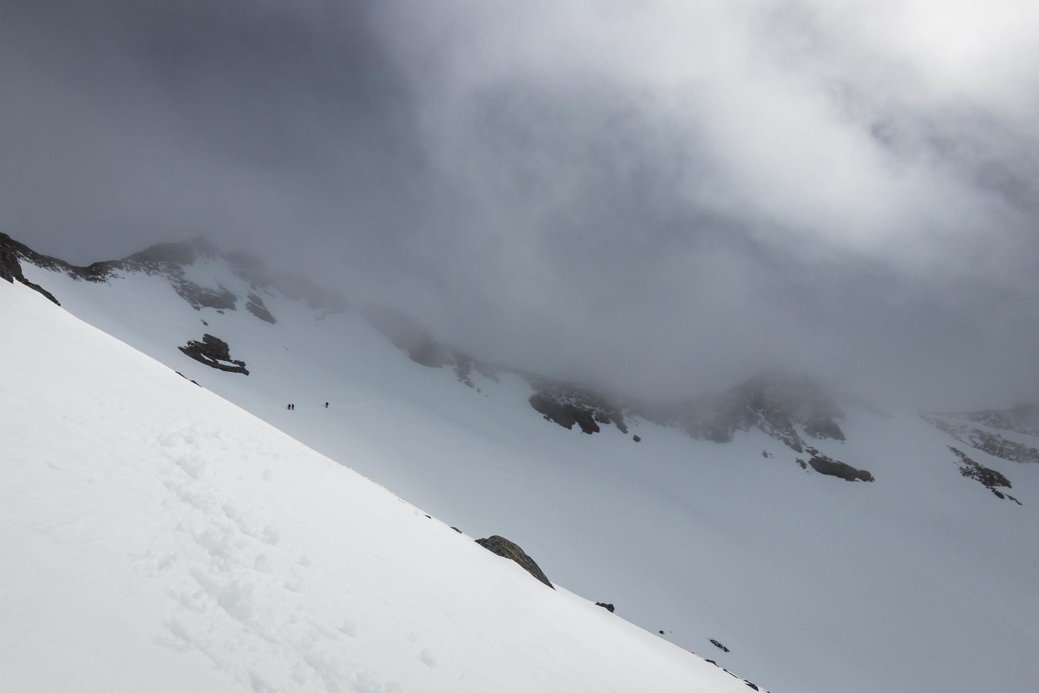 Climbers descending
