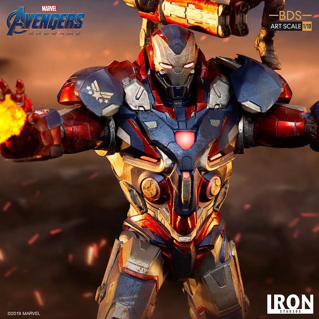 一大一小火力全開!! Iron Studios Battle Diorama 系列《復仇者聯盟:終局之戰》鋼鐵愛國者&火箭 Iron Patriot & Rocket 1/10 比例決鬥場景雕像作品