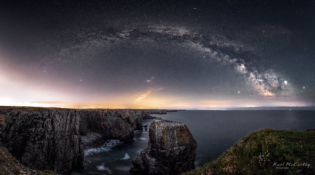 The beauty of the Pembrokeshire coast under the night sky