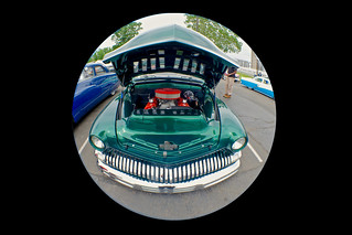 Custom green car with hood up