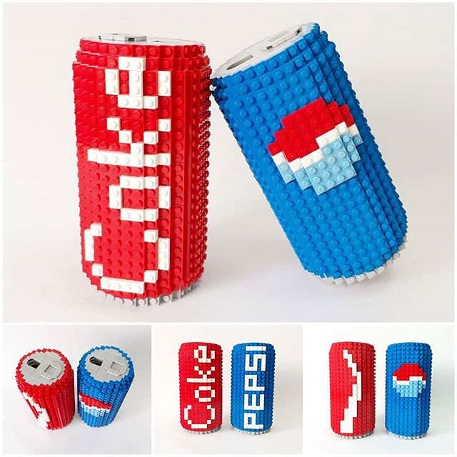 Are you Team Red or Team Blue? @artisanbricks is happy to build these larger-than-life brick soda cans to illustrate the century-old rivalry between @cocacola and @pepsi for a business module at a local university. Thank you Dr George Liu and Singapore In