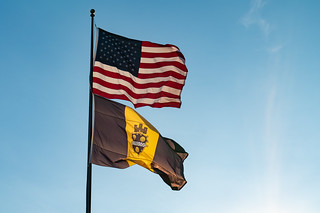 Pittsburgh City Flag and American Flag | by Tony Webster