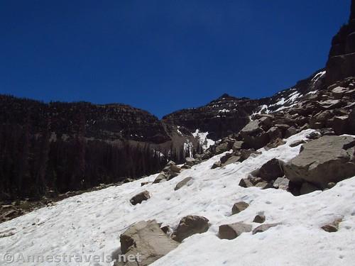 Snow on scree near Ibantik Lake, High Uintas, Utah