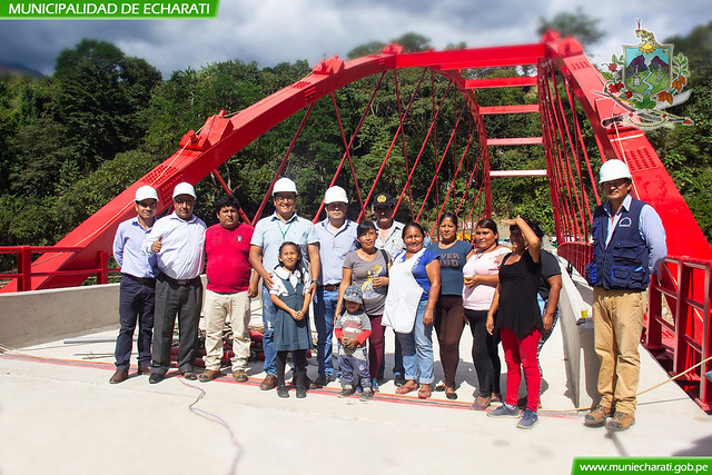 Alcalde Boris Chavez superviso trabajos de puente Echarati