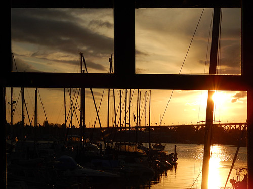 View of the Sunset from the Wicklow Pub on the seawall in south False Creek, Vancouver