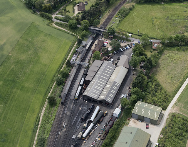 Weybourne railway station in north Norfolk - aerial image