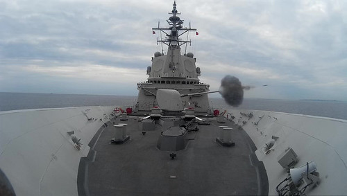 The Spanish Alvaro de Bazan-class frigate Cristobal Colon (F 105) conducts a naval gun fire support exercise during exercise Baltic Operations (BALTOPS) 2019.