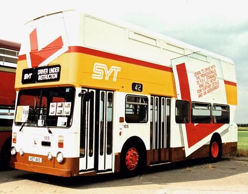 VET 611S 'South Yorkshire's Transport Ltd.' No.105 'DRIVER UNDER INSTRUCTION'. Leyland Atlantean AN68 / Roe  on Dennis Basford's railsroadsrunways.blogspot.co.uk'