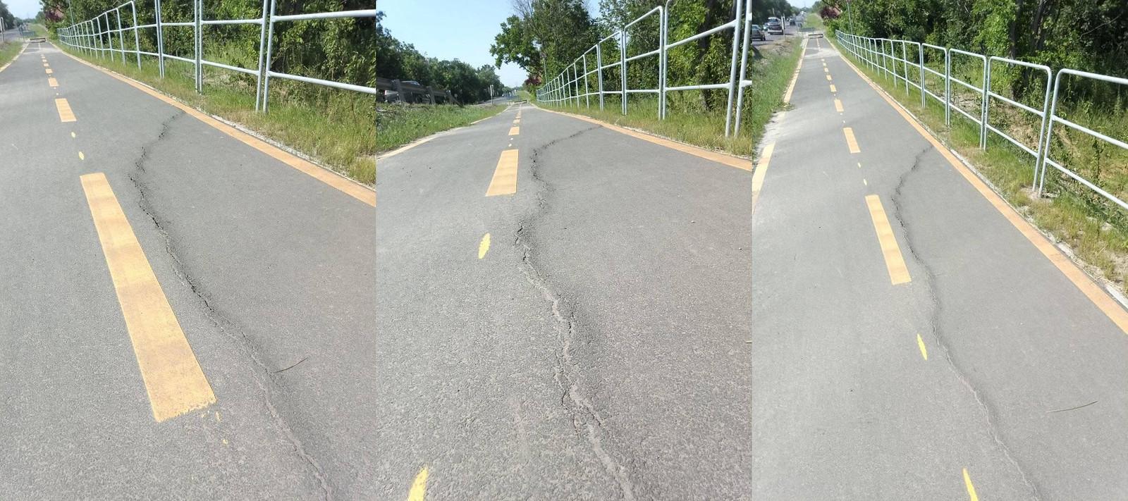Két héttel az átadás után elkezdett tönkremenni a sándorfalvi bicikliút