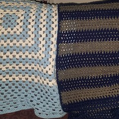 2 baby blankets. Just in time for fathers day. Now to keep working on other projects. #crochet #babyblanket