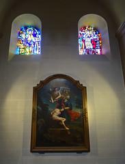 vidrieras y pintura interior iglesia Santos Cosme y Damian Clervaux Luxemburgo