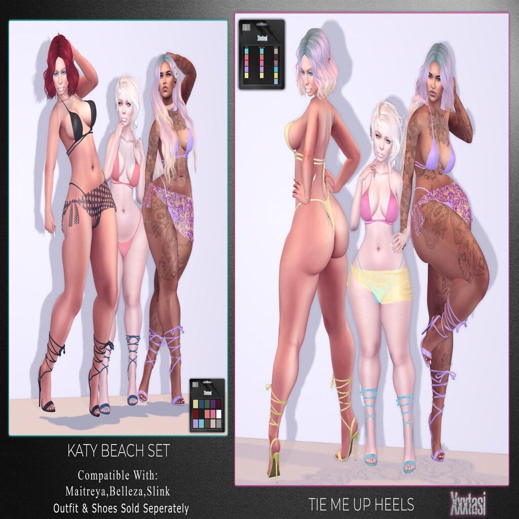 Katy Beach Set & Tie Me Up Heels Ad Blogotex