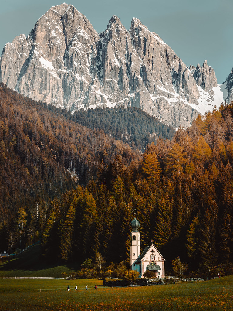 The small church of St. John of Nepomuk in Ranui, Dolomites. Italy