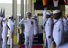 PEARL HARBOR (June 14, 2019) Rear Adm. Robert Chadwick II is piped ashore following a change of command ceremony on Joint Base Pearl Harbor-Hickam. Chadwick relieved Rear Adm. Brian P. Fort as Commander, Navy Region Hawaii and Commander, Naval Surface Group Middle Pacific. (Photo by Mass Communication Specialist 1st Class Corwin Colbert/Released)
