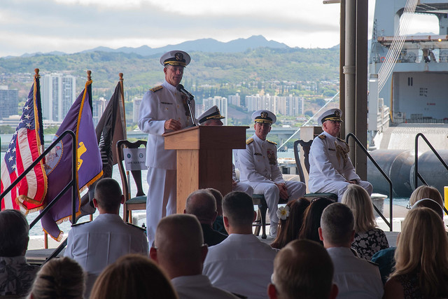 PEARL HARBOR (June 14, 2019) Adm. John Aquilino, commander of U.S. Pacific Fleet, speaks to guests during the Commander, Navy Region Hawaii change of command ceremony. During the ceremony Rear Adm. Brian Fort was relieved by Rear Adm. Robert Chadwick. (U.S. Navy Photo by Mass Communication Specialist 2nd Class Kenneth Rodriguez Santiago)