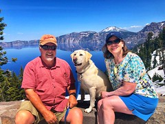Cory, Nala and Nancy Brown, Crater Lake Oregon