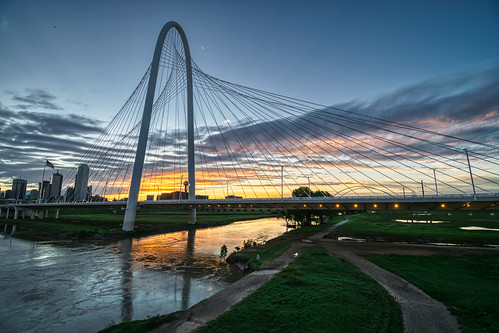 dallas hdr margarethunthillbridge nikon nikond5300 outdoor texas trinityriver architecutre bridge city cityscape clouds dawn downtown flag flagpole geotagged lights morning reflection reflections river sky skyline sunrise urban water