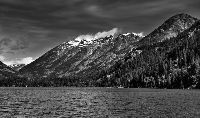 A Vista View of Mountains Around Lake Chelan (Black & White, North Cascades National Park Service Complex)