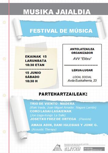 Cartel Festival de Música en la AVV de Elitxu, Irun