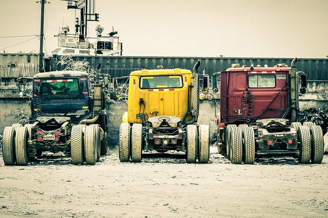 Trucks in port of Santo Domingo