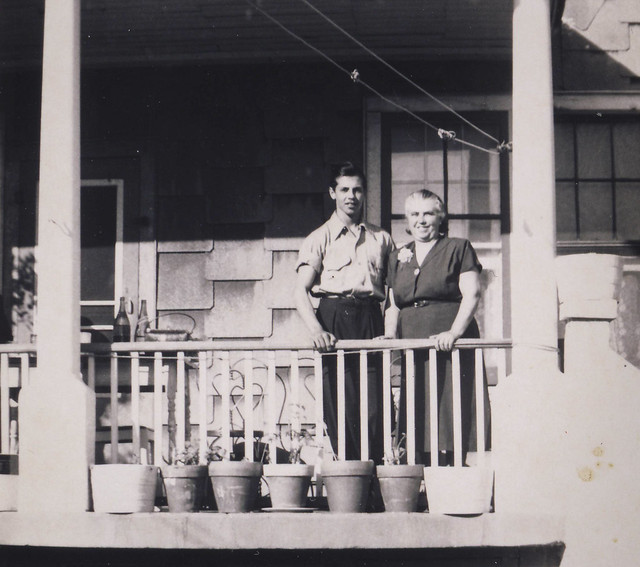 On the back porch, Joe and Caterina, the Bronx, around 1952