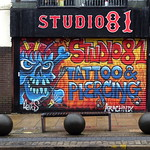Studio 81 shutter mural in Preston