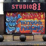Studio 81 shutter mural in Preston