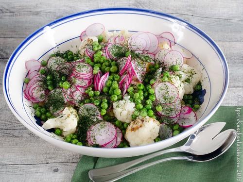 Kartoffelsalat mit Blumenkohl, Erbsen und Radieschen (2)