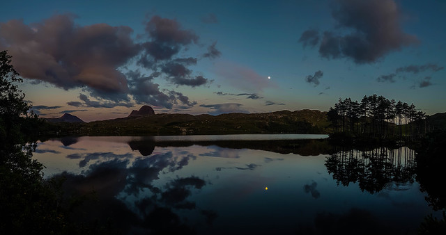 Love this picture of Suilven with the moon reflecting on the loch