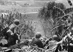 U.S. Marines engage in fierce fighting with Imperial Japanese forces during the Battle of Saipan. (U.S. Marine Corps photo)