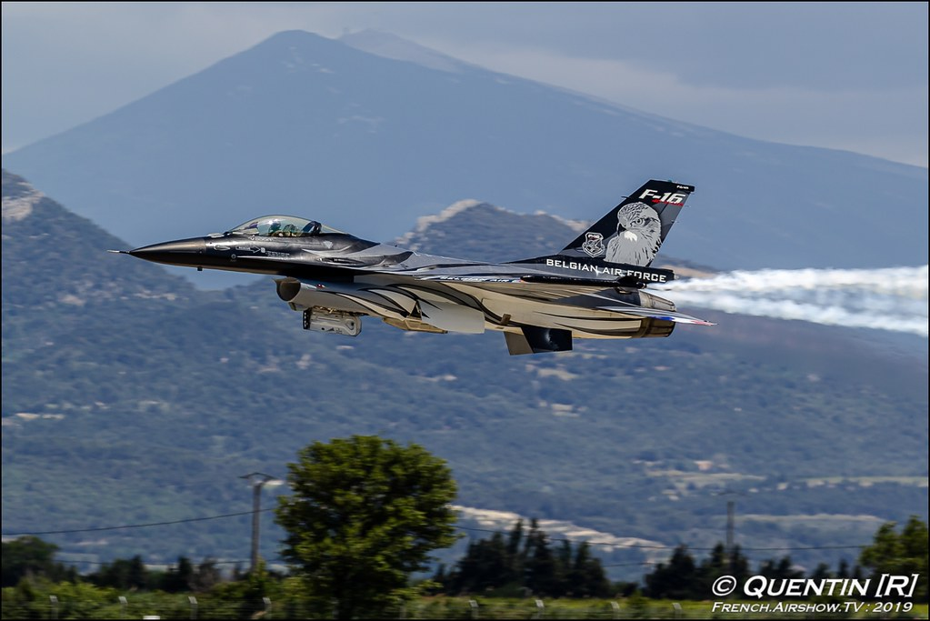Belgian Air Force F-16 Solo Display Dark Falcon Vador Meeting de l'Air BA-115 Orange 2019 Canon Sigma France contemporary lens Meeting Aerien