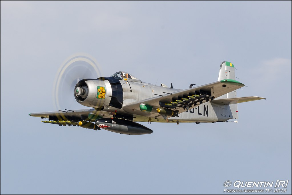 Douglas AD-4N Skyraider - F-AZHK Meeting de l'Air BA-115 Orange 2019 Canon Sigma France contemporary lens Meeting Aerien