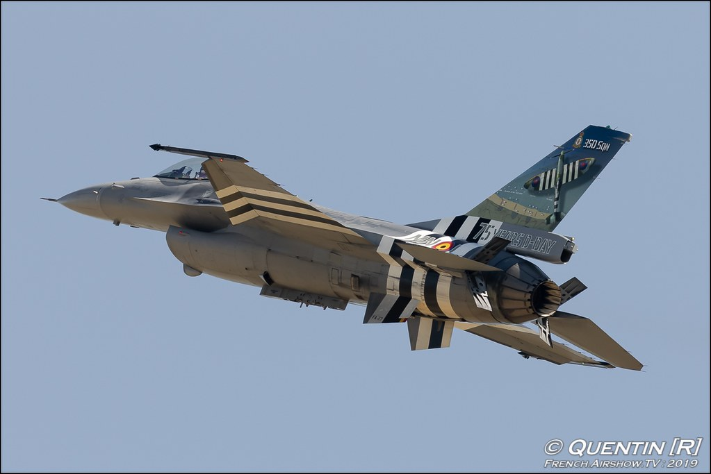 Belgian Air Force F-16 Solo Display 75 YEARS D-DAY Meeting de l'Air BA-115 Orange 2019 Canon Sigma France contemporary lens Meeting Aerien