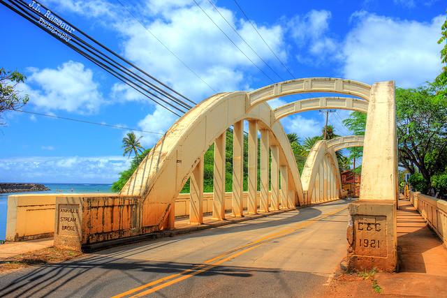 Anahulu Stream Bridge (aka Rainbow Bridge) - Haleiwa, Oahu, Hawaii