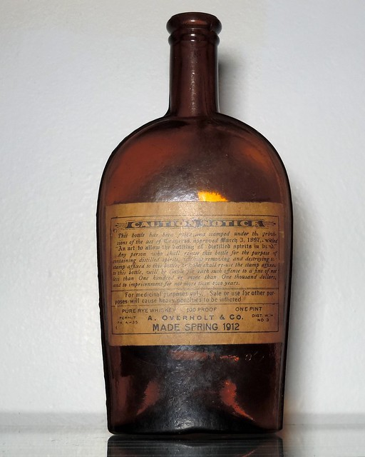 Old Overholt Antique Medicinal Whiskey Flask (2)