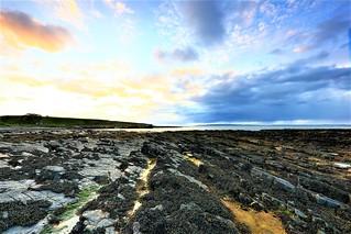 Skarfskerry harbour flagstone reef, Caithness, Scotland