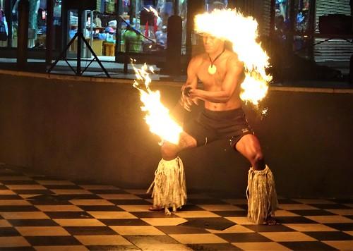 Nadi. Spectacular Fijian fire dancer at the Port Denarau Marina dance show.