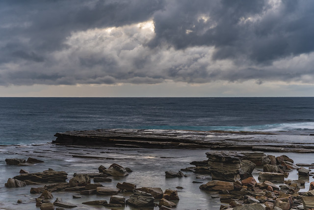 Overcast and Drizzly Rocky Seascape