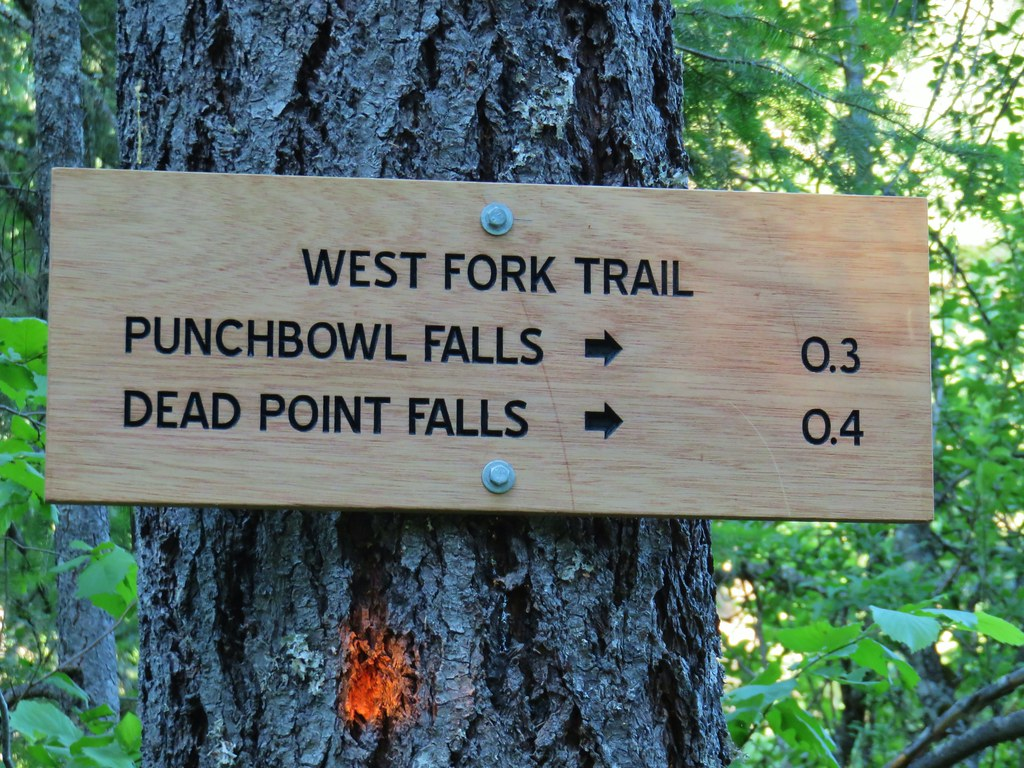 Trail sign in Punchbowl Falls Park