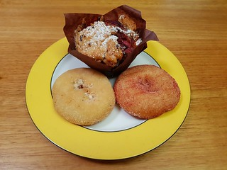 Lemon Poppy Seed and Strawberry doughnuts from OMG Donuts; Chocolate Strawberry Muffin from cafe at Brisbane Vegan Markets